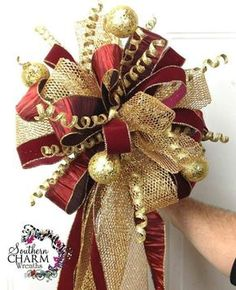 6 Minute Fall Wreath for Beginners Custom made Christmas Tree Topper in gold and burgundy theme by Southern Charm Wreaths. Custom made Christmas Tree Topper in gold and burgundy theme by Southern Charm Wreaths. Christmas Tree Bows, Artificial Christmas Wreaths, How To Make Christmas Tree, Christmas Tree Toppers, Holiday Wreaths, Christmas Holidays, Christmas Decorations, Christmas Ornaments, Merry Christmas