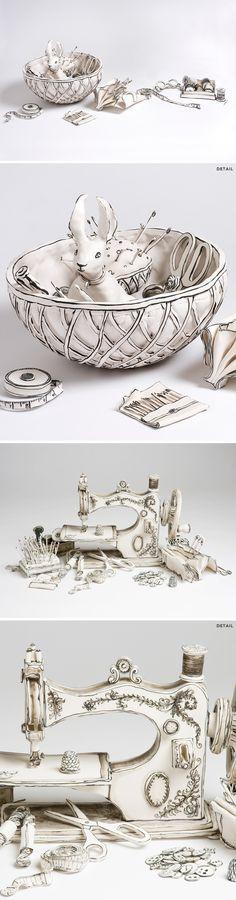 katharine morling (porcelain that looks like b&w drawings!)