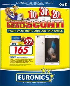"""Gilmozzi Elettrosoc """"Podio degli Sconti"""" le offerte Euronics agosto 2016"""