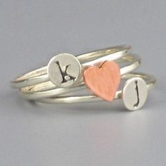 Three Stacking Initial and Copper Heart Sterling by InitialRings, $39.99