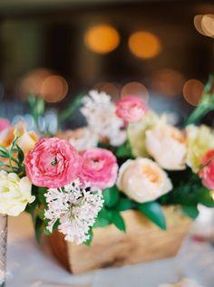 Colorful floral centerpiece: http://www.stylemepretty.com/california-weddings/santa-fe-ca/2015/08/27/romantic-spring-wedding-at-rancho-santa-fe-golf-club/ | Photography: Joshua Aull - http://www.joshuaaull.com/