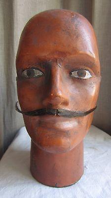 tête mannequin forme chapeau papier mâché dandy moustache France XIX hat head