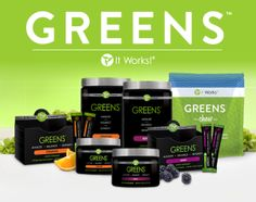 It Works Greens come in Berry and Orange flavors to satisfy both your taste buds and your body! Greens detoxify, alkalize, and balance your body's pH levels to keep you healthy. They come in powder form in large canisters so that you can mix them with your choice of beverage at home  http://glendaswrappingitup.myitworks.com/greens/