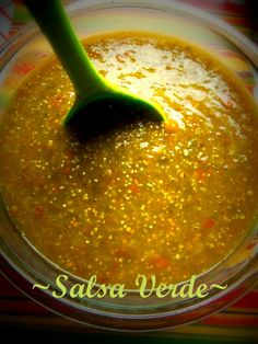 """I could probably make a meal of tortillas & Salsa Verde! :) ~D~ """"Salsa Verde"""" - from """"Hispanic Kitchen"""" ; Salsa Verde, Salsa Picante, Tomatillo Salsa Recipe, Mexican Cooking, Mexican Food Recipes, Ethnic Recipes, Spanish Recipes, Dinner Recipes, Pozole"""