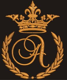 """Crown, laurel wreath and the monogram letter """"J"""" - Machine embroidery design, design tested. Machine Embroidery Designs, Embroidery Patterns, Hand Embroidery, Mens Kurta Designs, Letter K, Laurel Wreath, Gold Work, Monogram Letters, Monogram Wreath"""
