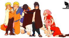 This is so adorable! Sasuke (Boruto) is just so embarrased wearing his clothes from the Pre-ship and Naruto seems so proud. Sakura thinks it's cute too Anime Naruto, Naruto Fan Art, Naruto Comic, Sakura E Sasuke, Naruto Sasuke Sakura, Naruto Cute, Naruto Shippuden Anime, Kakashi, Sakura Haruno