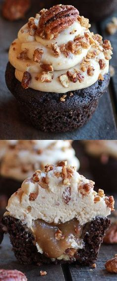 Chocolate Bourbon Pecan Pie Cupcakes with Butter Pecan Frosting. There are no words to describe the deliciousness that embodies these cupcakes!