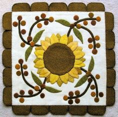 Sunflower Wool Applique | Found on thecottageatcardifffarms.com