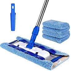 SIGA Professional Microfiber Mop for Hardwood, Laminate, Tile Floor Cleaning, Stainless Steel Handle - 3 Reusable Flat Mop Pads and 1 Dirt Removal Scrubber included Cleaning Vinyl Plank Flooring, Laminate Tile Flooring, Cleaning Tile Floors, Floor Cleaning, Kitchen Cleaning, Vinyl Flooring, Hardwood Floor Cleaner, Hardwood Floors, Bokashi