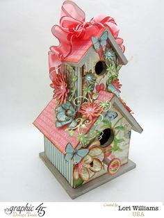 Love Birds and birdhouse by Lori Williams using Botanical Tea Collection product by Graphic45 2