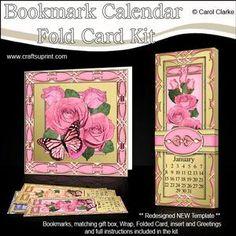Butterfly Roses Bookmark Calendar Fold Card Kit