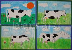 You need: white drawing sheet size construction paper for background tempera paint or oilpastels When the cows are back in the me. Artists For Kids, Art For Kids, Animal Art Projects, Drawing Sheet, Elementary Art, School Projects, Art Education, Art Lessons, Holland