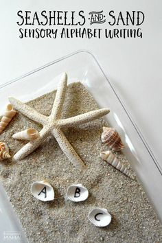 Kids can learn the alphabet with this Seashells and Sand Sensory Writing Tray! Perfect for Preschoolers learning letters and learning to write. And with a fun beach theme this sensory activity is great for summer learning! B-Inspired Mama Sensory Bins, Literacy Activities, Sensory Play, Reading Activities, Reading Games, Beach Activities, Sensory Table, Sensory Bottles, Baby Sensory