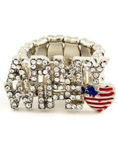 Military Army Wife Crystal Stretch Ring Patriotic Fashion Jewelry  #Military