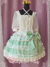 Sweet Light Green Bow Chiffon Lolita Skirts -No.1