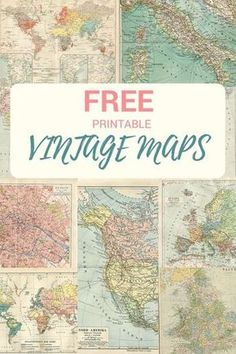 "Two ""printables. Junk journals, art decoupage, scrapbook ephemera, DIY card making. Vintage Maps, Vintage Diy, Vintage Ephemera, Vintage Map Decor, Vintage Classroom Decor, Vintage Paper Crafts, Vintage Suitcases, Vintage Theme, Antique Decor"