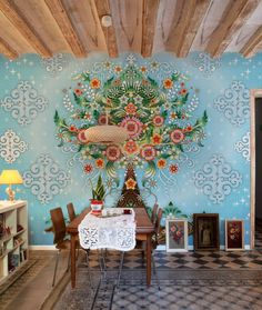 Inspirations & Ideas Wonderful Illustrative Blue Wallpaper Design Decorations Ideas Ornament Floor Decor Inspiration Designer Colorful Floral Motif In Dining Room1 Attractive Wallpaper from Colombian Born  Barcelona Based  and Catalina Estrada