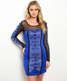 This bodycon dress features sheer yoke and sleeve panel, embellished detail and mini hemline. Fabric Content: 100% POLYESTER