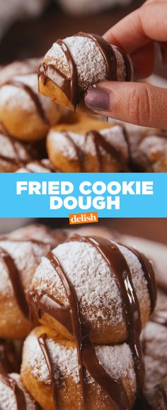 Can you think of anything better than gooey cookie dough surrounded by crunchy, deep fried dough? We& wait. Best Donut Recipe, Donut Recipes, My Recipes, Dessert Recipes, Recipies, Fried Cookie Dough, Cookie Dough Recipes, Just Desserts, Delicious Desserts