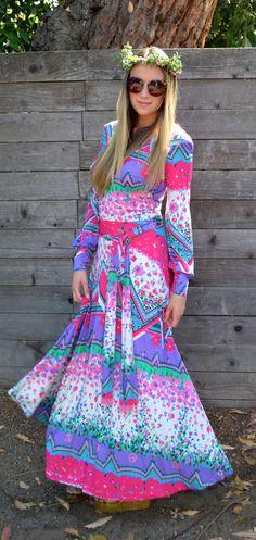 Vintage 1970s Dress Vintage Clothing Dress 1970s 70s Hippie Vintage Floral Pink Purple Green Long Dress Dress Silk Designer Gown Signed