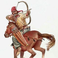 """Parthian mounted archer employing the classic Parthian shot over the shoulder. This tactic has gone down in history as a perfect last statement while moving away from an adversary and lives on today in the form of a stinging remark while leaving a room said over the shoulder """"a parting comment""""."""
