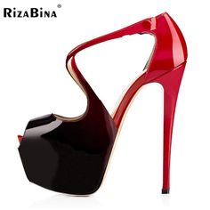 RizaBina Women High Heels Sandals Sexy Gladiator Shoes Woman Open Toe Thin Heel Sandals Ladies Candy Color Shoes Size 35-46 B062