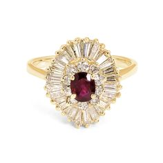 Scarlett - Ruby & Diamond Ballerina Style Vintage Estate Ring in Yellow Gold at Yates & Co Jewelers