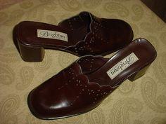 Brighton Tess Brown Leather Clogs Mules Slides 8 M B Boutique Genuine Dress Nice #Brighton #Mules