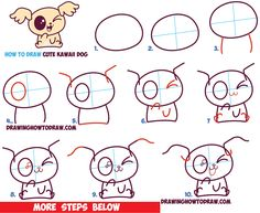How to Draw Cute Kawaii / Chibi Puppy Dogs with Easy Step by Step Drawing Tutorial for Beginners and Kids Easy Sketches For Beginners, Drawing Tutorials For Kids, Easy Drawings For Kids, Art Tutorials, Diy Kawaii, Kawaii Chibi, Easy Drawing Steps, Step By Step Drawing, Drawing Lessons