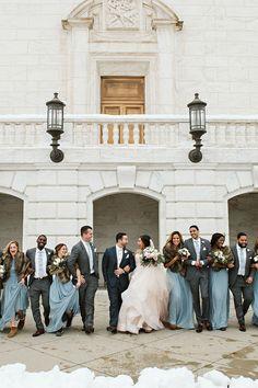 Bridesmaids And Groomsmen, Blue Bridesmaid Dresses, Wedding Bridesmaids, Blush Flowers, Wedding Bells, Gold Wedding, Blush And Gold, Bridesmaid Proposal, Wedding Inspiration