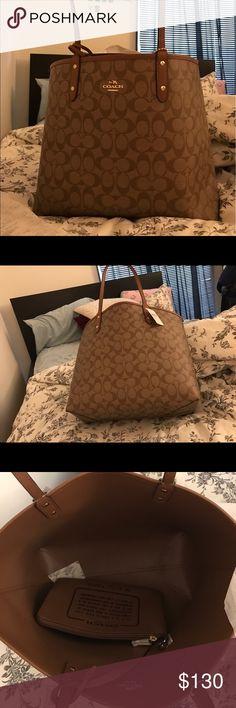 Coach brown reversible tote NWT!!!!!!!! Beautiful bag Coach Bags Totes