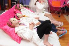 Kid spa party - you could blow up an air mattress and let girls lounge back onto pillows after their  facials are applied!.
