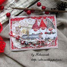 Simple things: Новогодняя открытка с веселыми гномами