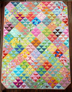 """""""Alice"""" pattern by Rita @ Red Pepper Quilts. Love all the color and pattern she """"smushed"""" in this quilt."""