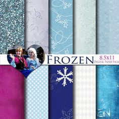 Disney Frozen Inspired 8.5x11 A4 Digital Paper Pack for Digital Scrapbooking, Party Supplies, etc -INSTANT DOWNLOAD - on Etsy, $3.99
