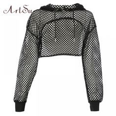 ArtSu Long Sleeve Tshirt Women Mesh Top Hooded Hollow Out Sexy Punk Rock Short Crop Top White T shirt Fishnet Black купить на AliExpress Crop Top Outfits, Crop Top And Shorts, Long Sleeve Crop Top, Cropped Shirt, Mesh Crop Top, Cropped Top, Teen Fashion Outfits, Edgy Outfits, Cute Casual Outfits