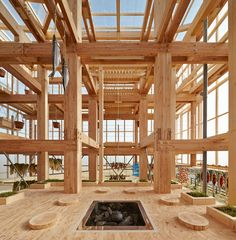 Nest We Grow // College of Environmental Design UC Berkeley + Kengo Kuma & Associates // Hokkaido, Japan Architecture Design Concept, Timber Architecture, Cabinet D Architecture, Timber Buildings, Japanese Architecture, Contemporary Architecture, Architecture Details, Ancient Architecture, Sustainable Architecture