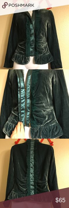 """Deep Emerald velvet jacket Truly stunning aqua/emerald velvet light jacket. Double zipper as shown, beautiful silk and rayon pleated details with a sweet satiny interior shell. Breathtaking and sultry white extremely timeless. Size small by Sheri Bodell. Shoulders approx 15.5"""" across the back. Length approx 22"""" from top of shoulder to bottom hem. Excellent condition. Sheri Bodell Jackets & Coats"""