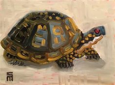 "Daily Paintworks - ""Box Turtle Impression"" - Original Fine Art for Sale - © Stephen McDonough"