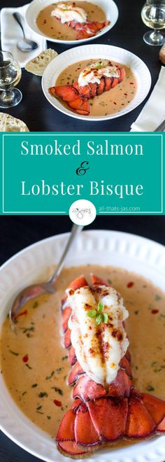 Creamy smoked salmon bisque with lobster tail is as delicious as impressive look… Smoked Salmon Recipes, Fish Recipes, Seafood Recipes, New Recipes, Soup Recipes, Cooking Recipes, Healthy Recipes, Favorite Recipes, Vegetable Recipes