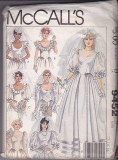 Vtg Wedding Bridal Gown Dress Pattern McCalls 9452 Size for sale online Vintage Costumes, Vintage Outfits, Vintage Gowns, Fashion Vintage, Fashion Art, Vintage Items, Bridal Dresses, Wedding Gowns, Wedding Wear