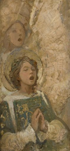 """I collect the hymns and embed them in the wings of a singing angel painting"" by J. Kirk Richards"