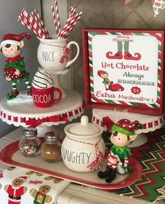 Oh my goodness . I love this elf themed hot cocoa bar. Sorry I didn't post yesterday. Was busy (and tired) after a mini… Gingerbread Christmas Decor, Decoration Christmas, Farmhouse Christmas Decor, Christmas Holidays, Christmas Crafts, Xmas, Christmas Things, Christmas Lights, Christmas Ideas