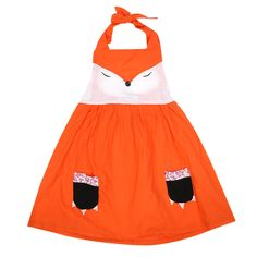 Summer Fashion Cute Baby Girls Cartoon Fox Strappy Sleeveless Dress Kids Clothes Orange Princess Party Baby Girl Dress  #Affiliate