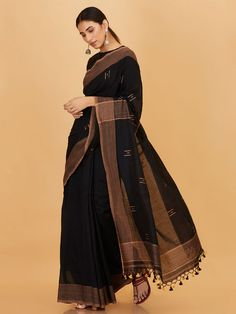 The Loom- An online Shop for Exclusive Handcrafted products comprising of Apparel, Sarees, Jewelry, Footwears & Home decor. Kerala Saree Blouse, Indian Sarees, Cotton Saree Designs, Saree Blouse Designs, Organza Saree, Tussar Silk Saree, Traditional Silk Saree, Traditional Outfits, Black Cotton Saree