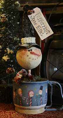 I can make him and just put in a cute tall snowman mug I have and he would be cute.  I just couldn't paint the cute scene on it...