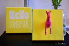 Hello Sunshine two bright hand painted canvas with pink zebra, kids room decor by DCraftAffairs on Etsy