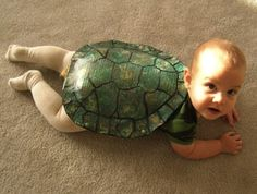 A crawling baby makes for a great turtle. | 19 Creative Costumes For Babies Who Are Too Young To Walk