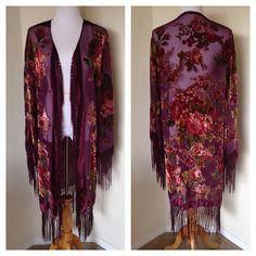 Boho Maroon Velvet Burnout Floral Duster Robe with Fringed Tassels - Festival Friendly - Kimono Style Sleeves - Medium Large
