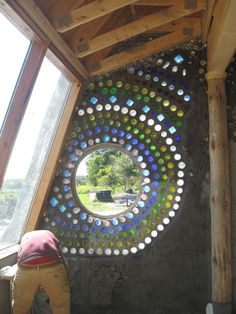 bottle wall with circle window